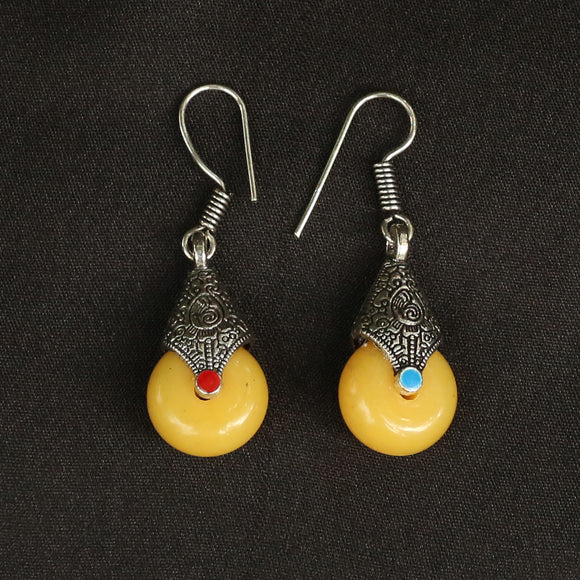 Imeora Oxidised Silver Yellow Drop Earrings