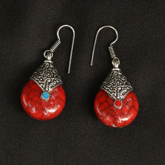 Imeora Oxidised Silver Red Drop Earrings