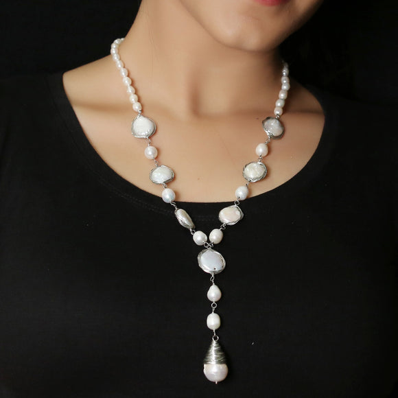Imeora Exclusive Long Silver Color Wired Fresh Water Pearl Necklace