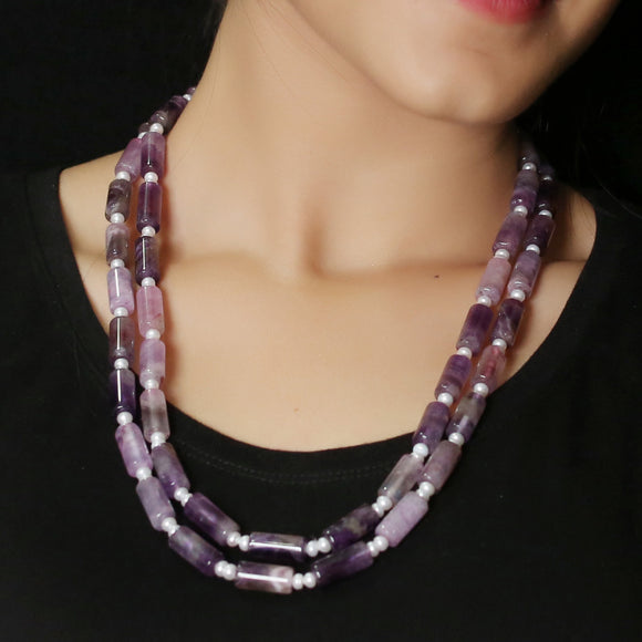 Imeora Exclusive Double Line Amethyst And Pearl Necklace