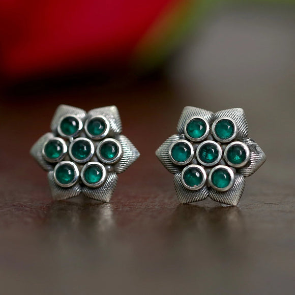 925 Oxidised Silver Hexagonal Green Stud