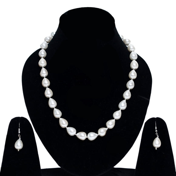 Imeora Exclusive Metallic White Shell Pearl Necklace