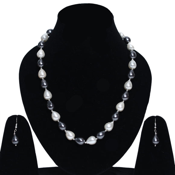Imeora Exclusive Alternate Metallic Black White Shell Pearl Necklace With Earrings
