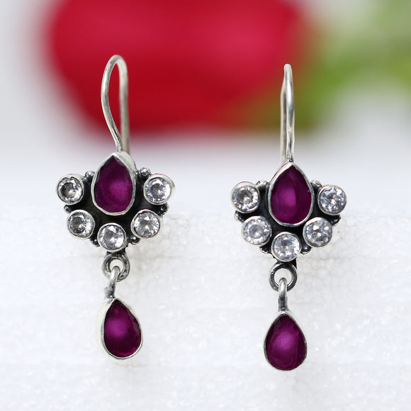 925 Silver Zircon With Ruby Red Center And Ruby Red Drop Earrings