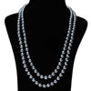 Imeora Metallic Black 8mm Double Line Shell Pearl Necklace With 10mm Black Shell Pearl studs