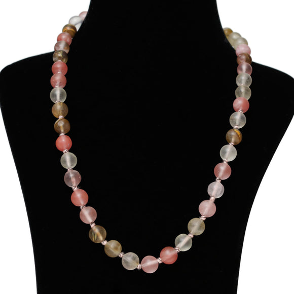 Imeora Hand Knotted 10mm Multi Cherry Quartz Stone Necklace