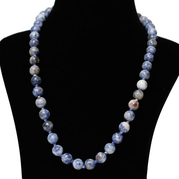 Imeora Hand Knotted 10mm Sodalite Stone Necklace