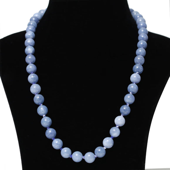 Imeora Hand Knotted 10mm Chalcedony Stone Necklace