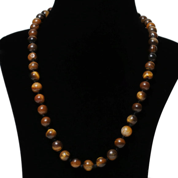 Imeora Hand Knotted 10mm Tiger Eye Stone Necklace