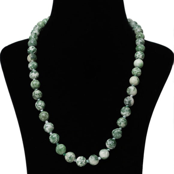 Imeora Hand Knotted 10mm Green Jasper Stone Necklace