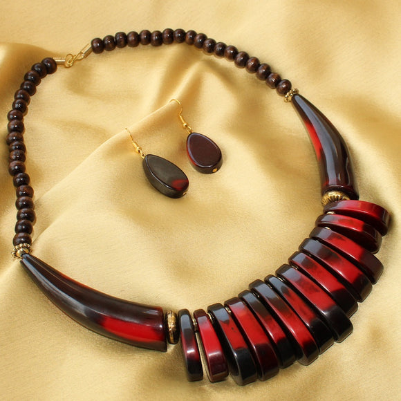 Imeora Red Black MultiDrop Tribal Necklace Set With Earrings For Women/Girls