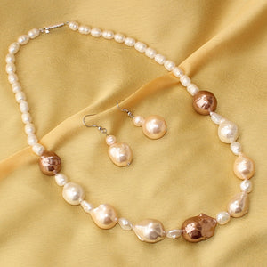 Imeora Fresh Water Baroque Pearl Necklace with Earrings