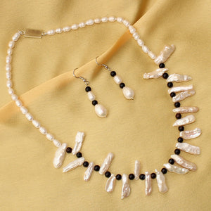 Fresh Water White Pearl Necklace with Earrings