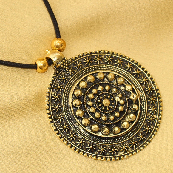 Black Thread Golden Pendant, Round Tribal Pendant, Round Golden Pendant
