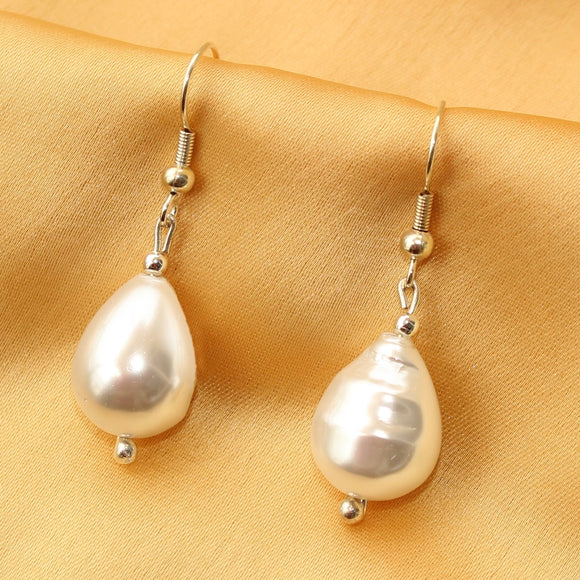 Dangle Earrings, White Dangle Earrings, Shell Pearl Dangle Earrings