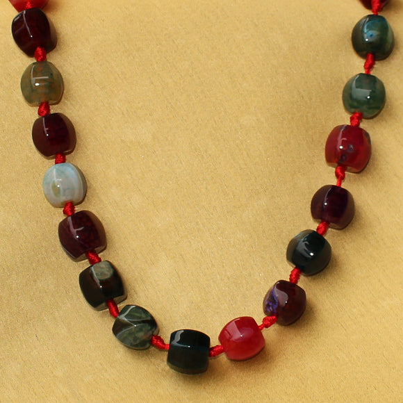 Imeora Multicolor Drum Shaped Stone Necklace