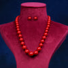 Imeora Exclusive Knotted Graduation Red Shell Pearl Necklace With 10mm Red Shell Pearl Studs