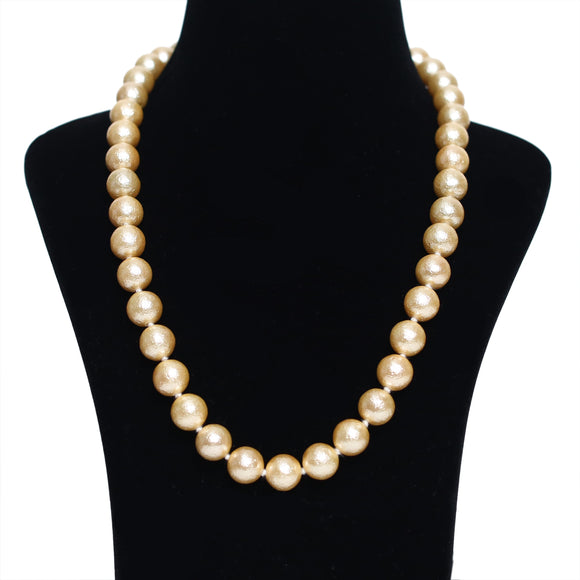 Imeora Knotted Matt Finish 12mm Golden Shell Pearl Necklace