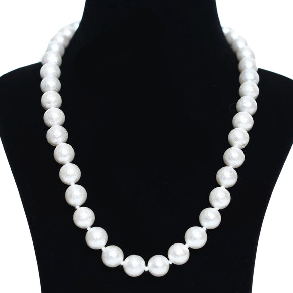 Imeora Knotted Matt Finish 12mm White Shell Pearl Necklace