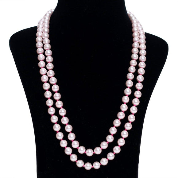 Baby Pink Knotted Pearl Necklace