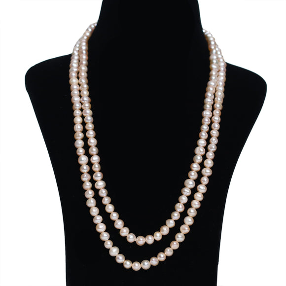 Imeora Peach Fresh Water Pearl Color Double Line Necklace
