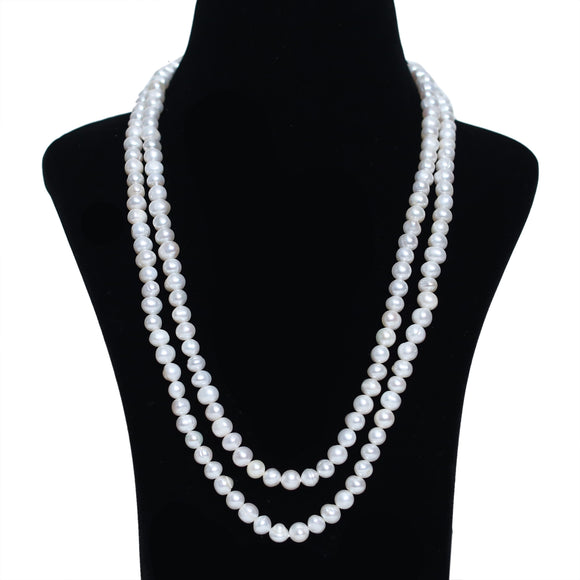 Imeora White Fresh Water Pearl Color Double Line Necklace