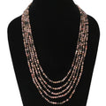 Imeora Exclusive Five Layer Rhodonite 4mm Natural Stone Necklace