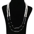Imeora Exclusive Double Line Black Onyx And Pearl Necklace With White Real Pearl Stud