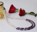 Imeora Exclusive Double Line Purple And Pearl Necklace With White Real Pearl Stud
