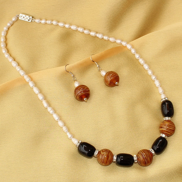 Tiger Eye and Black Stone Necklace Set