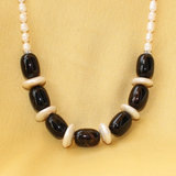 White Pearl Black Stone Necklace Set