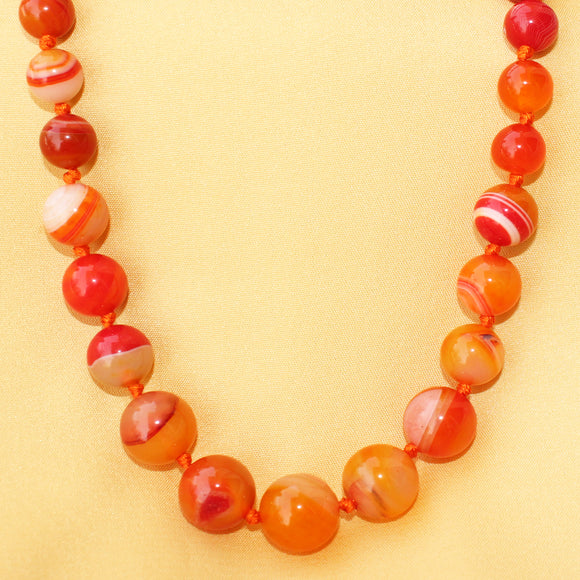 Imeora Round Multi Orange Agate Necklace For Women/girls