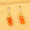 Imeora Orange Quartz Earrings With 5mm Shell Beads