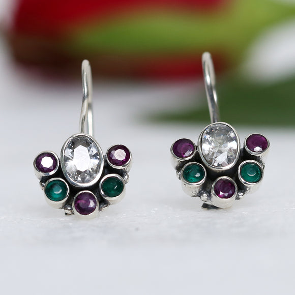 925 Silver Multicolor With Zircon Center Earrings