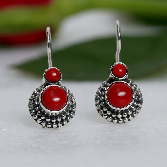 925 Silver Coral Red Drop Earrings