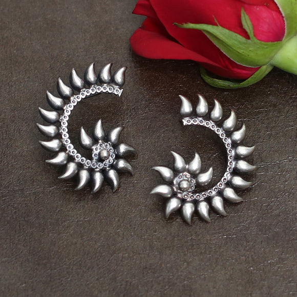 925 Oxidised Silver Half Tribal Flower Earring