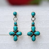 925 Silver Turquoise Floral Square Earrings