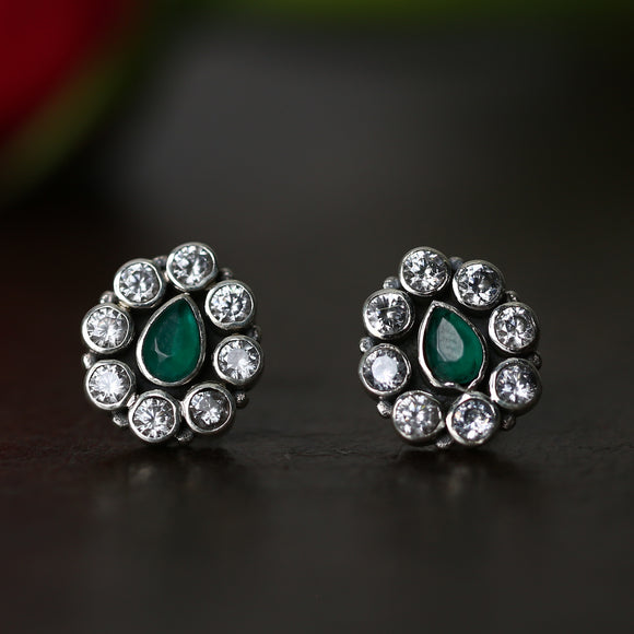 925 Silver Zircon Studs With Green Center