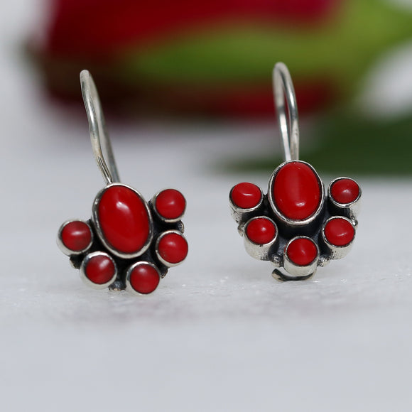 925 Silver Coral Red Earrings