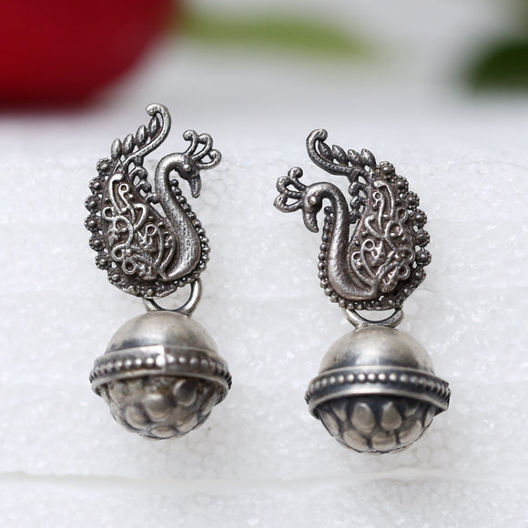 925 Oxidised Silver Peacock With Dholki Drop Studs