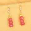 Imeora Pink Quartz Earrings With 5mm Shell Beads
