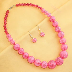Imeora Pink Beads Fashion Necklace Set