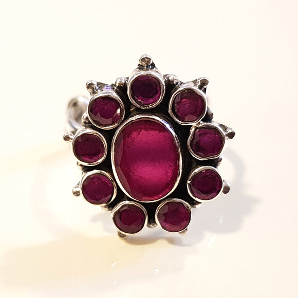 925 Silver Ruby Red Ring