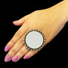 925 Silver Antique Look Adjustable Ring With Mirror