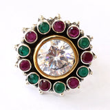 925 Silver Multicolor With Zircon Center Adjustable Ring