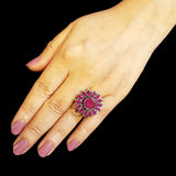 925 Silver Ruby Red Flower Adjustable Ring