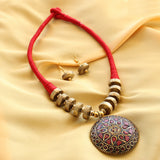 Imeora Handcrafted Tribal Red Thread Necklace Set With Earrings