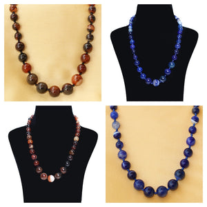 Imeora Religious Brown And Royal Blue Agate Graduation Combo