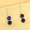 Imeora Knotted Royal Blue Agate Graduation Double Line Necklace With 8mm Earrings