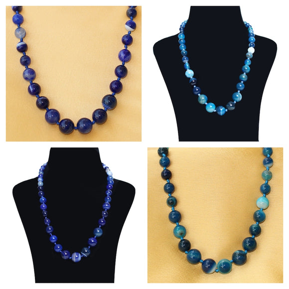 Imeora Light Blue And Royal Blue Agate Graduation Combo